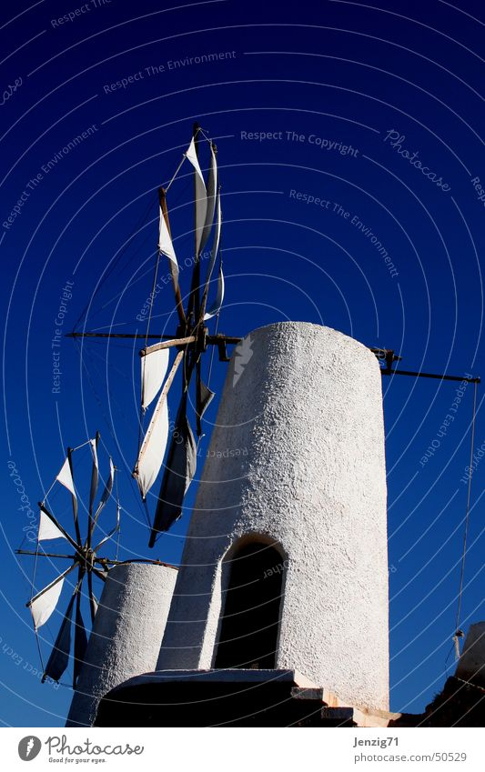 Windmills in Crete. Greece Vacation & Travel Mill Mince White Sky Blue