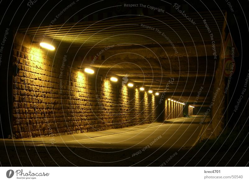 Street Lamp Dark Empty Tunnel Underpass
