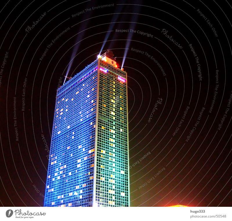 Blue Dark Berlin Window High-rise Night sky Illumination Alexanderplatz Night shot Beam of light