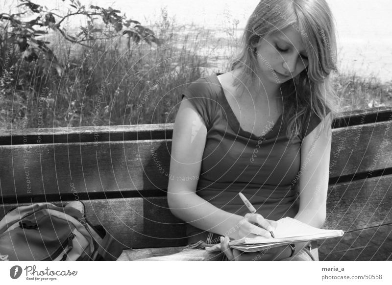summer Summer Paper Pen Backpack Grass Light T-shirt Blonde Concentrate Writing Sun collegiate block Bench Shadow earring Sit Write Black & white photo B/W