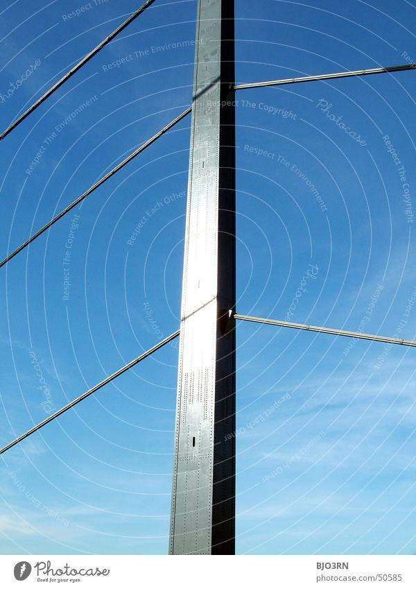 Sky Blue Clouds Metal Bridge Column Duesseldorf Rhine Carrier Wire cable Theodor Heuss bridge