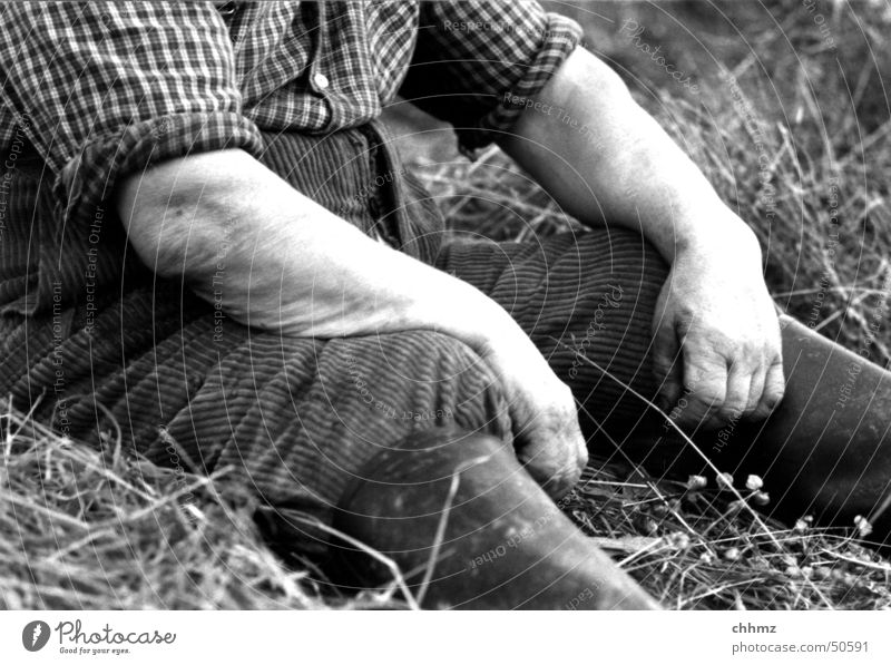 tired Meadow Farmer Hand Boots Rubber boots Shirt Completed Relaxation Nature Sit Fatigue Harvest Mow the lawn Arm hands legs