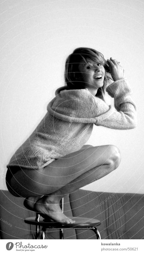 Woman Joy Laughter Grinning Sweater Portrait photograph Wool Crouch Emotions Stool