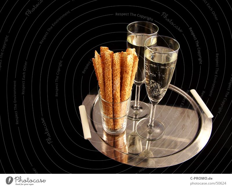 small champagne reception Sparkling wine Champagne glass Black Tray Sesame stick Noble Dry Snack Nutrition New Year's Eve Date Alcoholic drinks Public Holiday