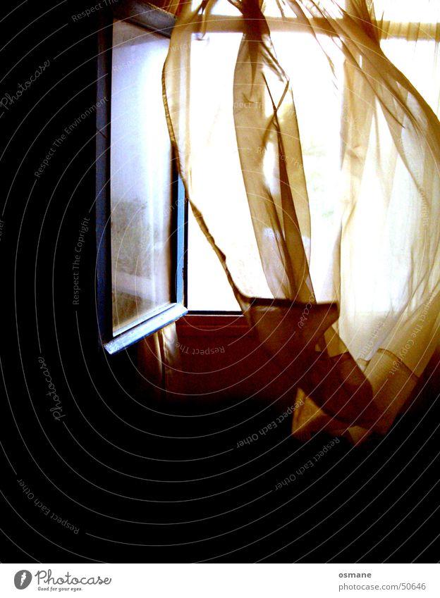 Black Window Air Cloth Drape Curtain Blow