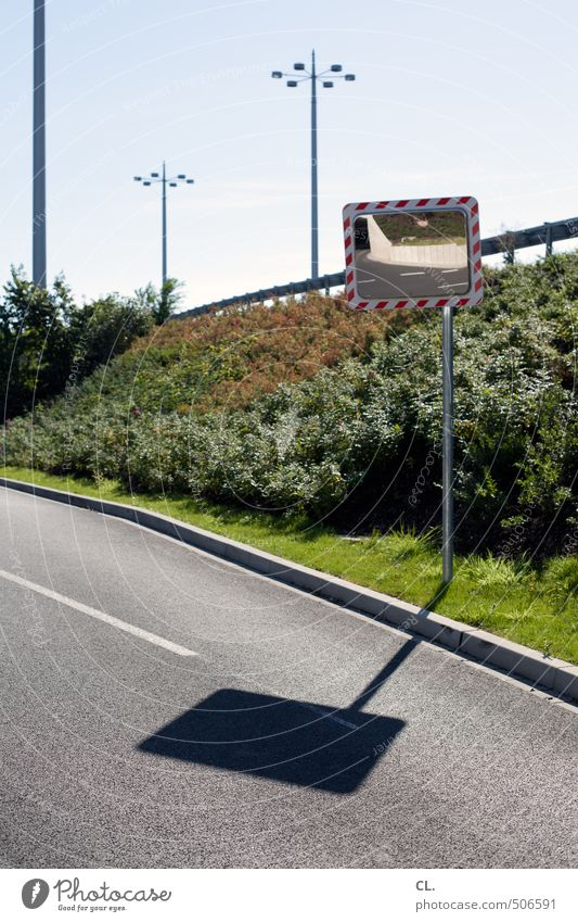 clear edges Sky Sun Summer Beautiful weather Grass Bushes Deserted Transport Traffic infrastructure Road traffic Motoring Street Lanes & trails Road sign Safety