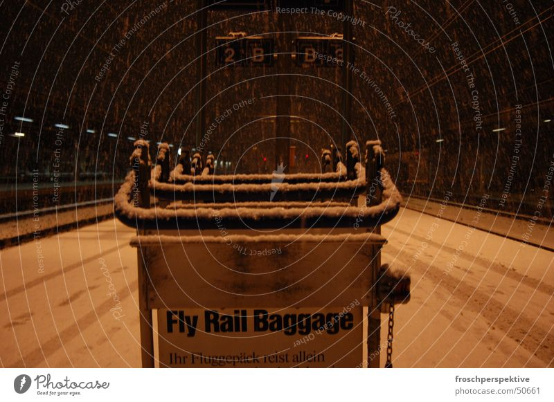 Your baggage travels alone Luggage Carriage Winter Snowstorm Train station Flying Vacation & Travel tracks sbb