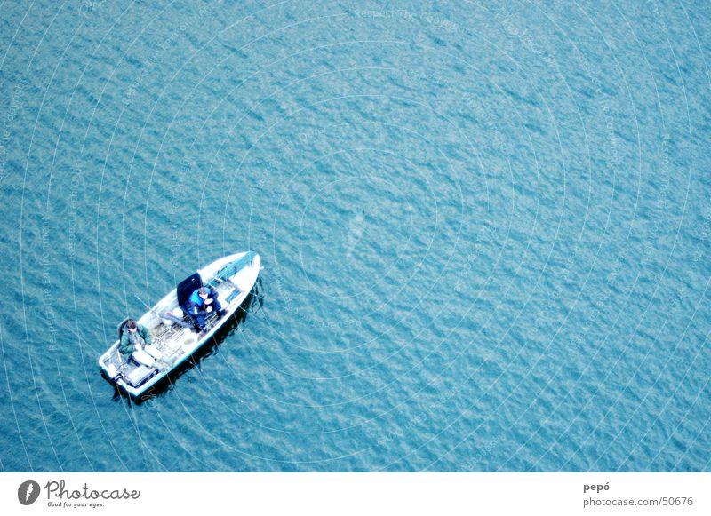 Man Water Ocean Blue Lake Watercraft Waves Fish Fishing (Angle) Rowboat Spoon bait Motorboat Motor barge Life jacket