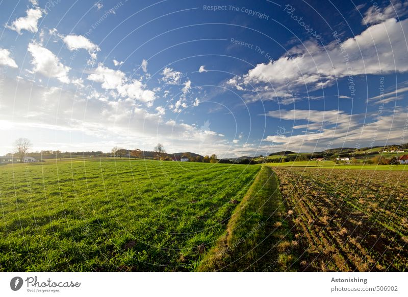 Hilly country 2 Environment Nature Landscape Plant Sky Clouds Horizon Summer Weather Beautiful weather Warmth Tree Grass Meadow Field Forest mill district