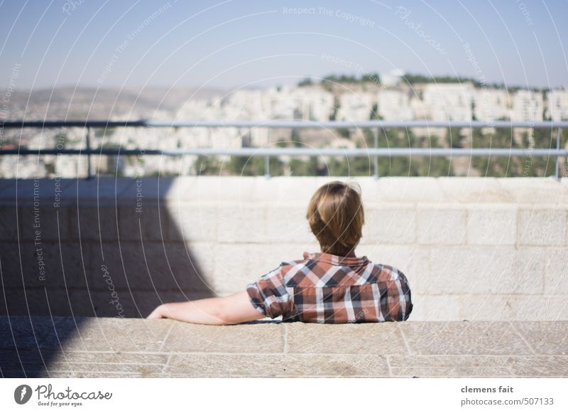 Enjoy the view Israel West Jerusalem Looking Far-off places ramble Calm Motionless Relaxation Right ahead Review Town Stone Shadow Man Youth (Young adults)