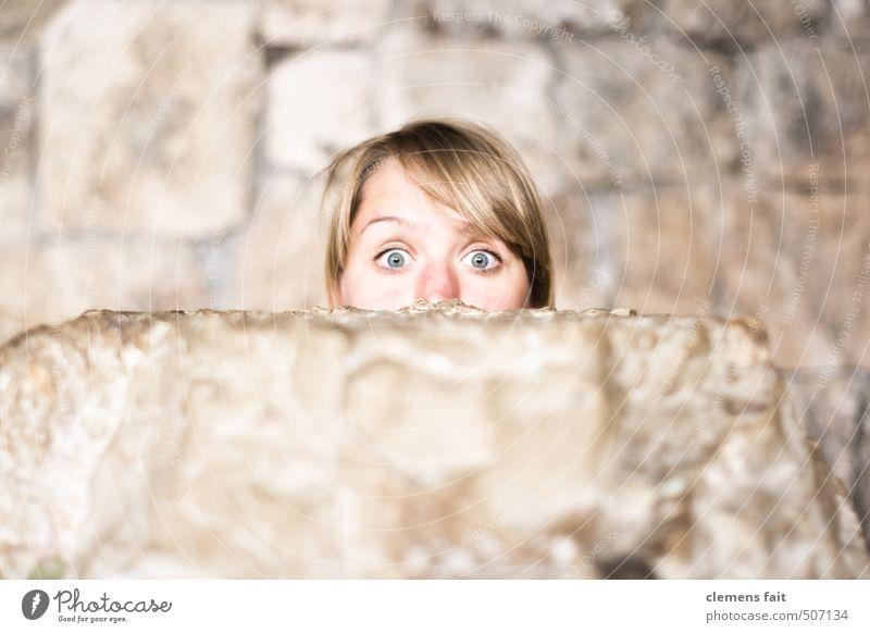 You again Stone Face Eyes Wall (barrier) Shallow depth of field Blur Amazed Tear open Frightening Half Surprise Curiosity Look out peek