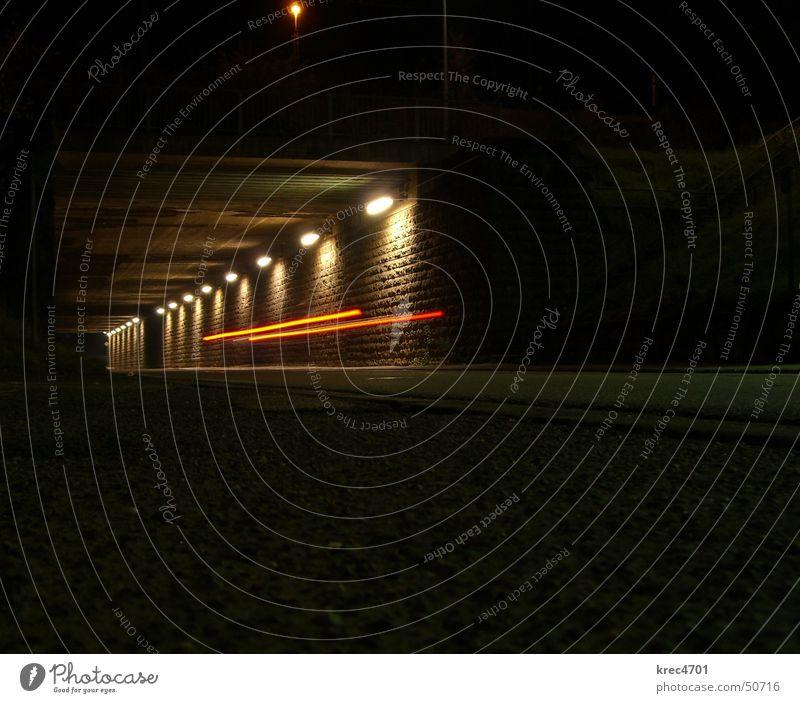 Red Street Dark Bright Tunnel Car headlights Underpass