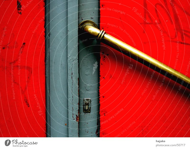 Red Gray Graffiti Door Gold Castle Door handle