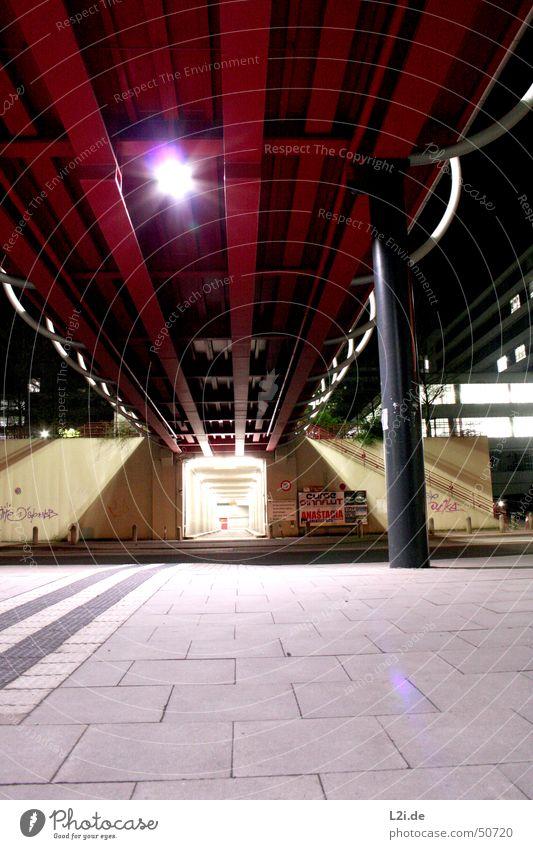 White Red Black Street Lamp Dark Gray Wall (barrier) Graffiti Academic studies Bridge Modern Tunnel Column Paving tiles