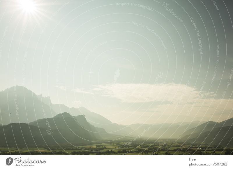 Sky Nature Plant Summer Sun Tree Landscape Calm Clouds Far-off places Environment Mountain Meadow Rock Earth Field