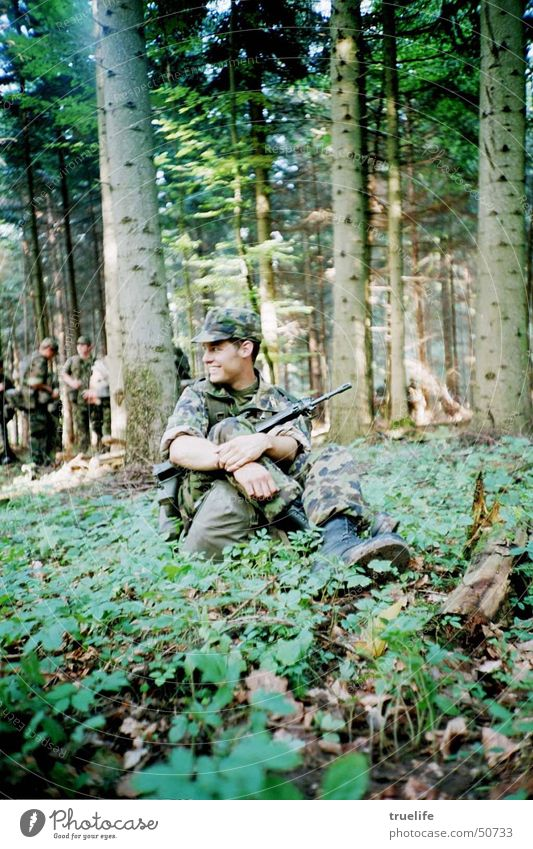 Man Nature Green Tree Adults Forest Life Masculine Peace Switzerland War Soldier Weapon Federal armed forces Camouflage Service