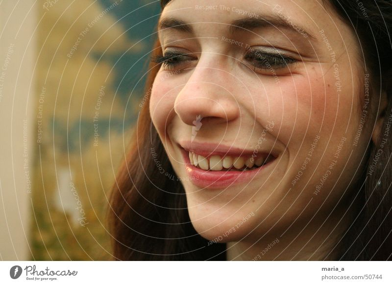 Youth (Young adults) Happy Laughter Funny Happiness Teeth Make-up Brunette Smiling Long-haired Partially visible Section of image Face of a woman Young woman