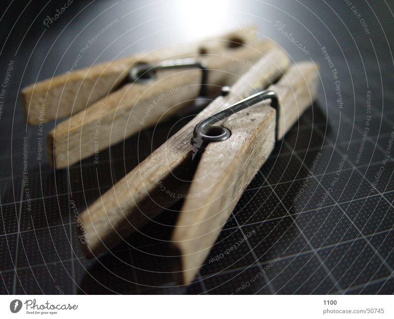 Two brackets Holder Clothes peg Light Dark Wood Bright cutting mat Macro (Extreme close-up) Reflection Lie