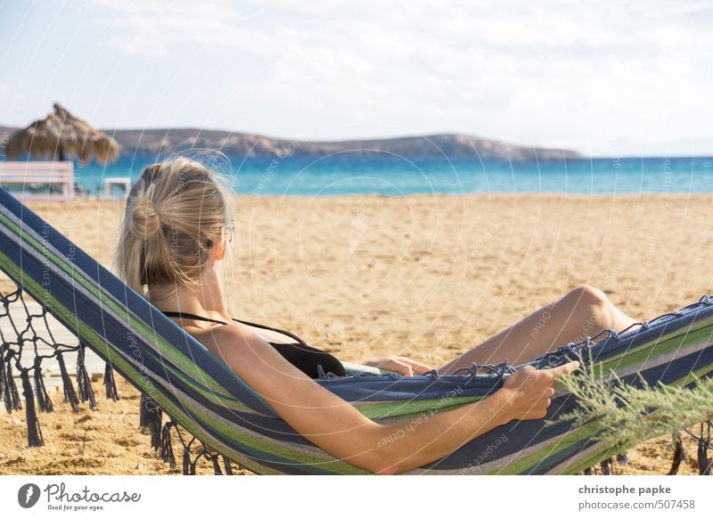 Human being Vacation & Travel Youth (Young adults) Summer Sun Ocean Relaxation Young woman Calm Beach 18 - 30 years Adults Warmth Feminine Coast Lie