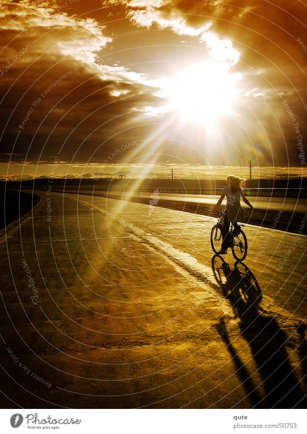 into the light Sky Sunset sun clouds Bicycle road freedom