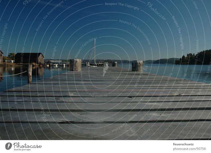 Blue Idyll Footbridge Lake Watercraft Loneliness Sky Sweden
