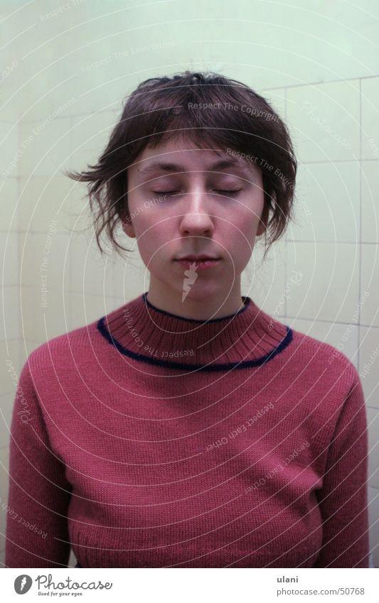 Woman Calm Eyes Sleep Sweater