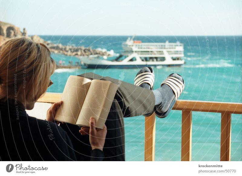 Woman Ocean Vacation & Travel Relaxation Watercraft Room Book Reading Break Vantage point Hotel Balcony Handrail Sunglasses Greece Print media