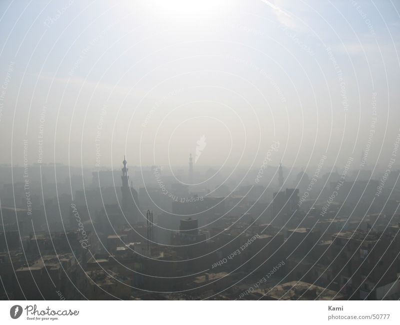 dust in the city Roof Sky Town Fog Sun Egypt Cairo Panorama (View) Vantage point Smog Dirty Dust Africa Derelict Landscape Large