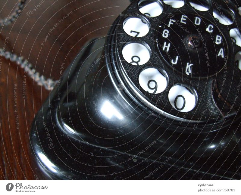 old phone Telephone Rotary dial Black Nostalgia Retro Past Things Communicate Digits and numbers Old Old fashioned