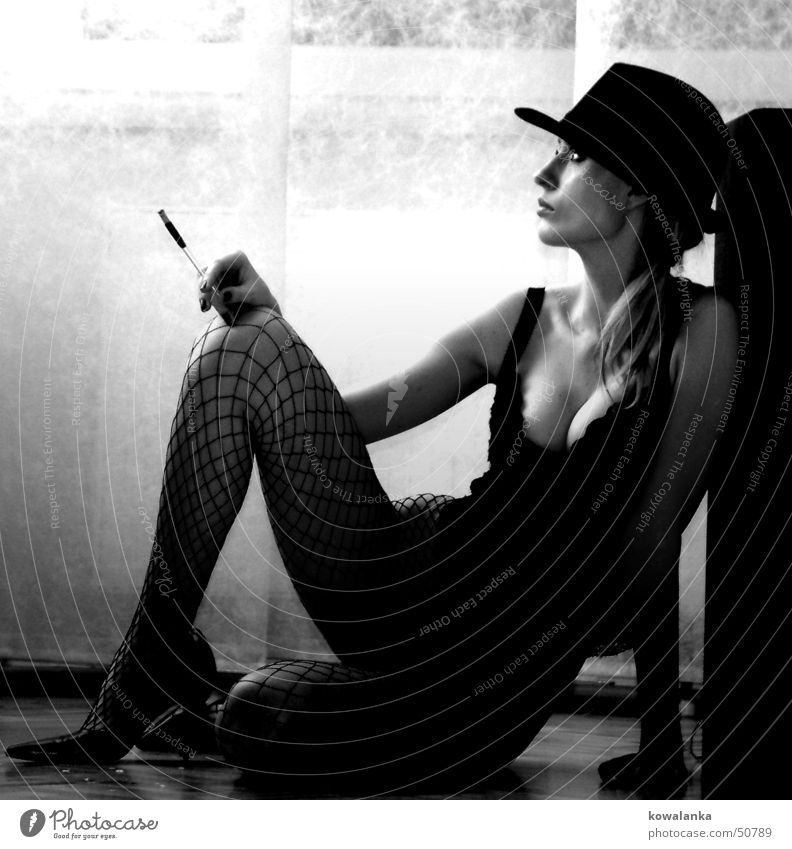 Woman Relaxation Feminine Think Legs Wait Smoking Hat Cigarette Variety Cigarette holder
