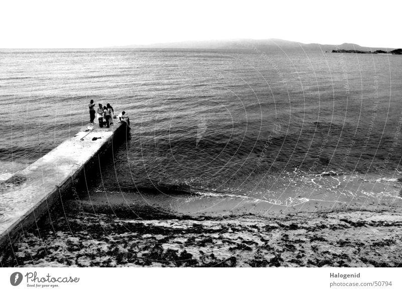 Water Vacation & Travel Ocean Beach Far-off places Landscape Coast Group Horizon Multiple Europe Footbridge Fishing (Angle) Jetty Greece Angler