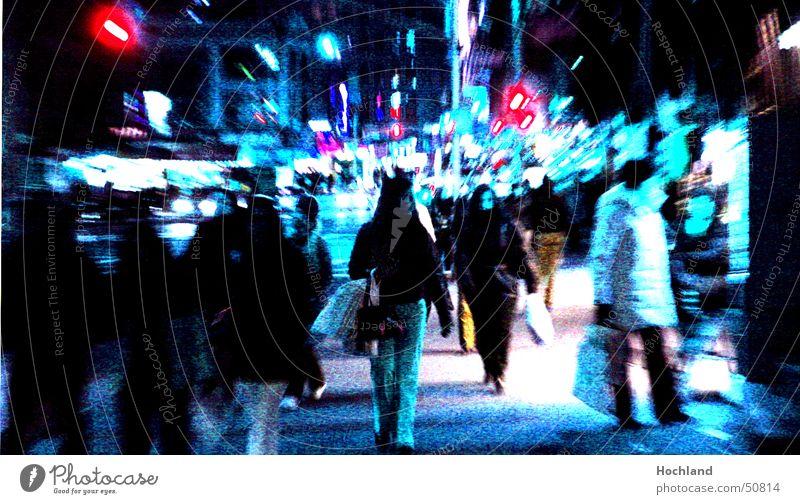 Human being Blue Street Sidewalk Street lighting Pedestrian New York City Shop window Chinatown
