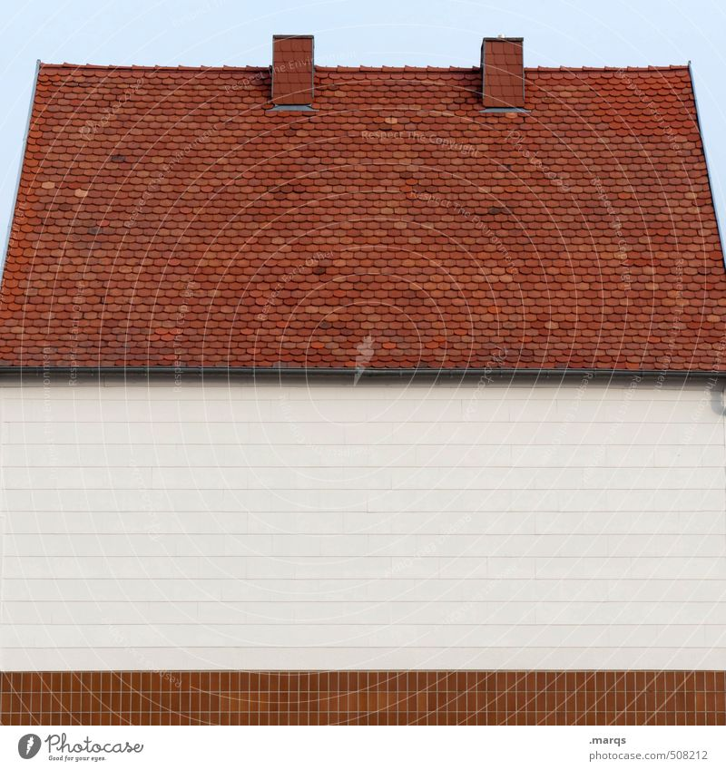 House (Residential Structure) Wall (building) Architecture Building Exceptional Facade Living or residing Closed Simple Roof Cloudless sky Tile Chimney Striped Horizontal Detached house