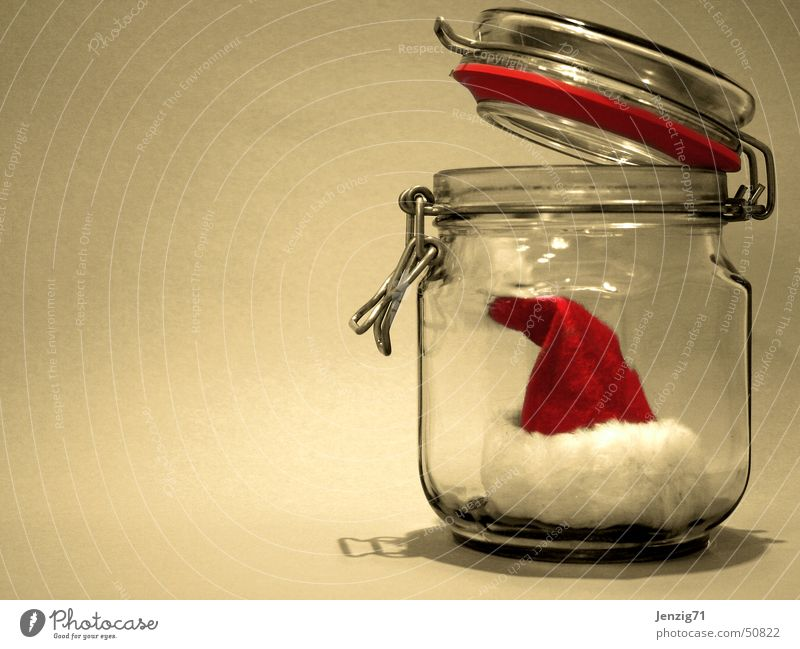 Every year again.... Santa Claus Cap Tin of food Glass Christmas & Advent Preserving jar Santa Claus hat