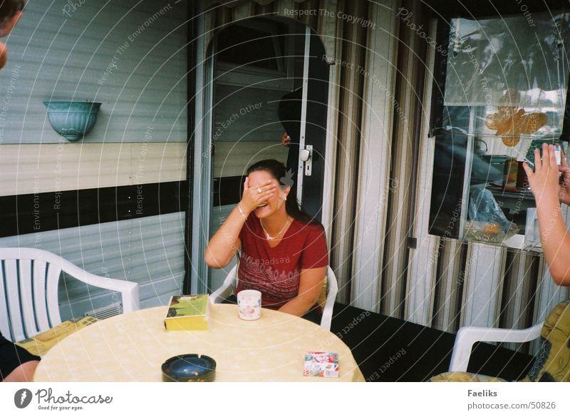 to shoot Woman Beautiful Hand Camping Crazy Laughter Head Joy Joke
