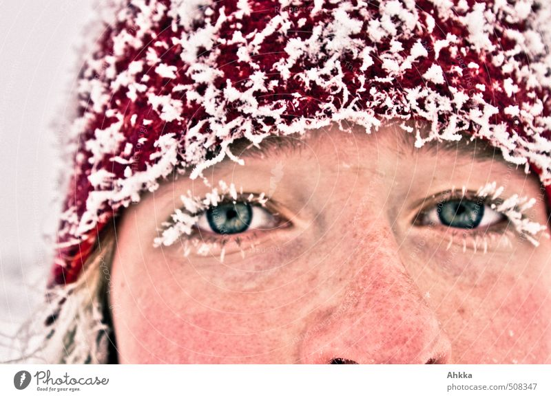 Youth (Young adults) Beautiful Red Young woman Winter Face Cold Eyes Life Snow Sports Healthy Exceptional Ice Power Lifestyle