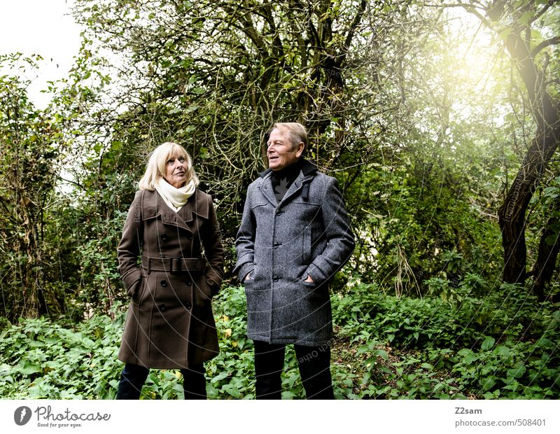 Human being Woman Nature Man Sun Relaxation Landscape Adults Love Meadow Feminine Senior citizen Autumn Grass Couple Together