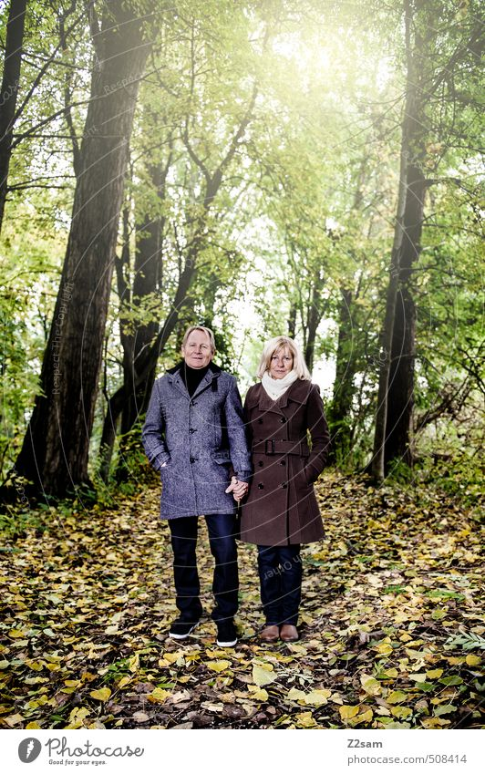 Human being Woman Nature Man Sun Tree Landscape Leaf Forest Adults Autumn Senior citizen Love Healthy Couple Together