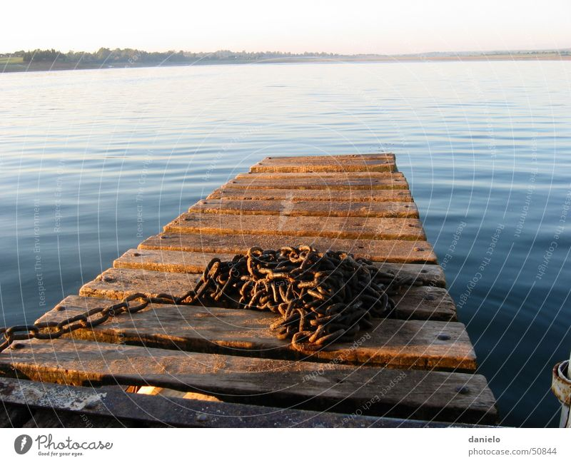 Morning mood at the lake Lake Footbridge Calm Chain Water Dawn whater quitness calmness silence morning-light