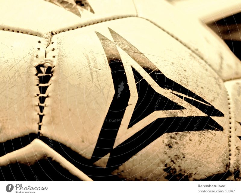 Old White Black Playing Dirty Soccer Broken Round Tracks Crack & Rip & Tear Bursting Occur Sports Earmarked Hexagon