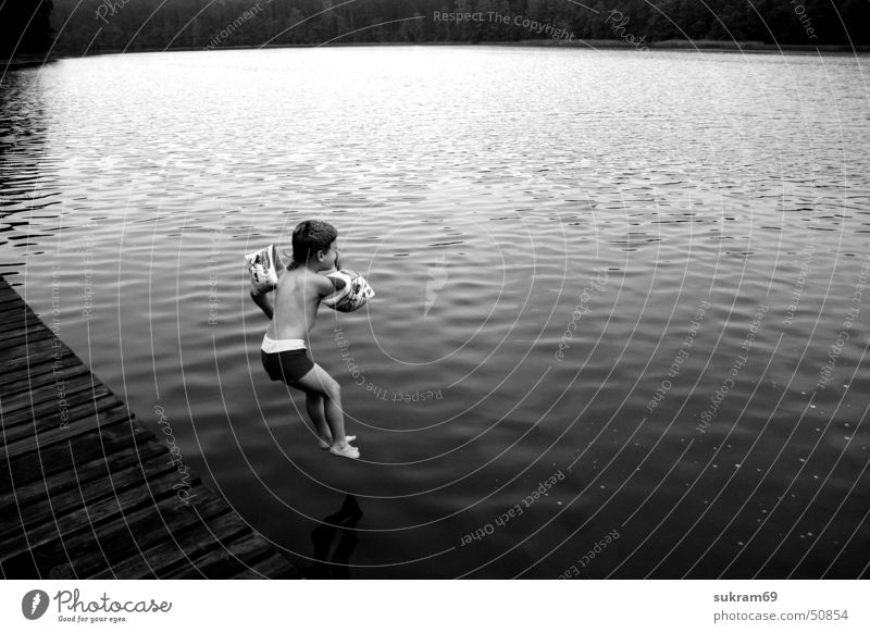 Water Summer Vacation & Travel Black Boy (child) Lake Swimming & Bathing Footbridge Water wings