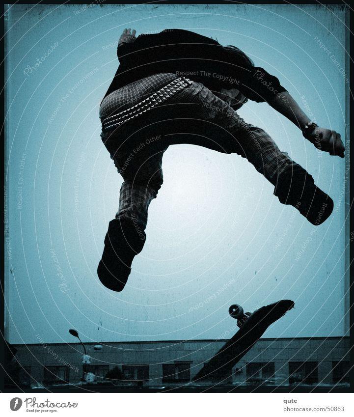 stripped Skateboarding Jump Strait Trick boy