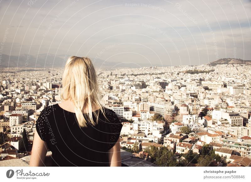blonde woman looks over Athens Vacation & Travel Far-off places Sightseeing City trip Summer Summer vacation Feminine Young woman Youth (Young adults) 1