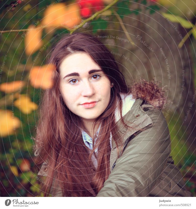 In line Beautiful Hair and hairstyles Thanksgiving Human being Feminine Young woman Youth (Young adults) 13 - 18 years Child Environment Nature Autumn Plant