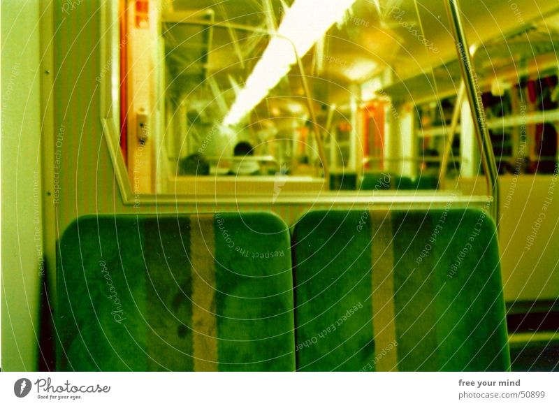 Take a seat! Commuter trains Underground Green Desire Railroad Seating two seats Loneliness Dialog partner Wait Hope