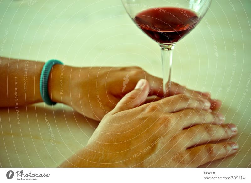 a glass of wine Beverage Drinking Alcoholic drinks Wine Glass Hand Serene Calm Relaxation To enjoy Gourmet Red wine To hold on Colour photo Copy Space top Day