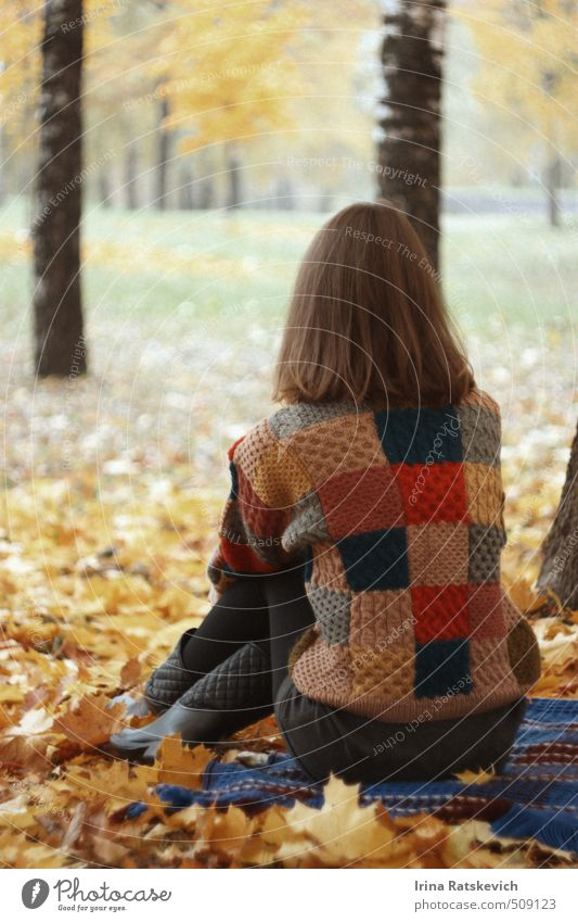 autumn loneliness Freedom Human being Youth (Young adults) Life Body Head Hair and hairstyles Back Legs 1 18 - 30 years Adults Nature Landscape Autumn Weather