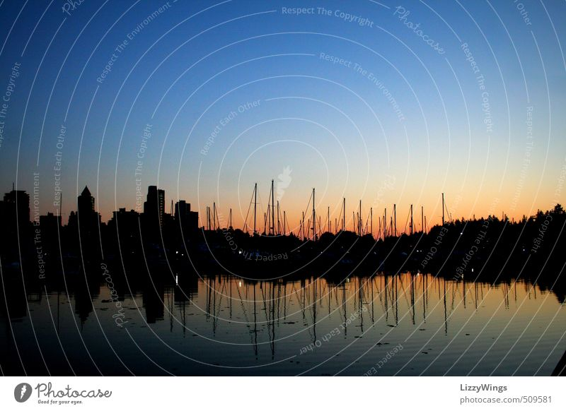 Vancouver Harbor Sunset Canada Americas Town Port City Skyline Deserted Harbour Manmade structures Building Architecture Navigation Sailboat Water Illuminate