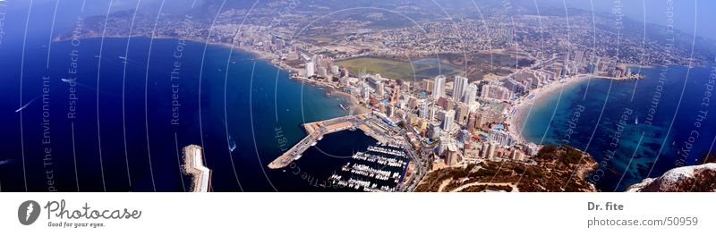 Calpe Costa Blanca Spain Vacation & Travel South Panorama (View) Coast Hiking Vantage point holiday Sun Mediterranean sea Harbour Bay penon de ifach Climbing