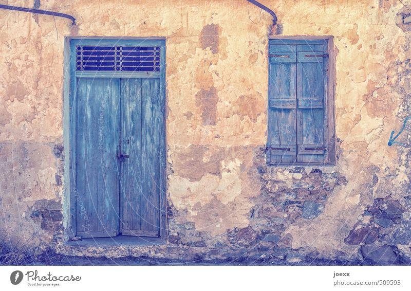 Blue Old Black Window Wall (building) Wall (barrier) Brown Facade Door Idyll Transience Hut